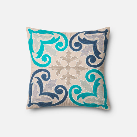 Loloi Rugs - Blue and Beige Pillow - P0297 BLUE / BEIGE