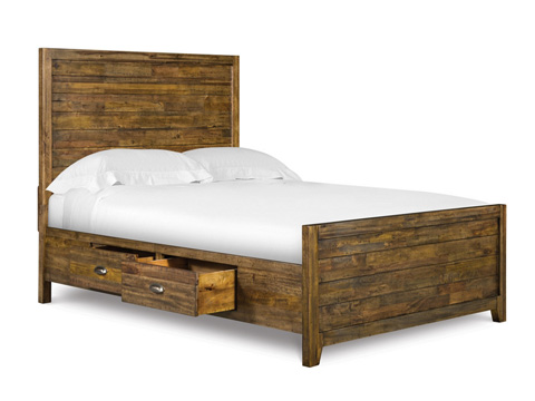 Image of Twin Panel Bed with Storage Rails