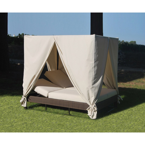 Pelican Reef - Atlantis Patio Daybed with Curtains - 903-9235-JBP