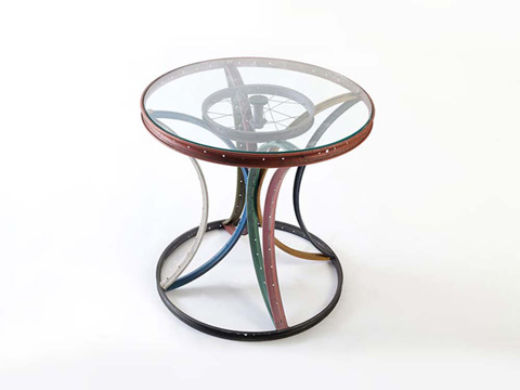 Image of Bicycle Rim Side Table