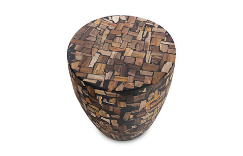Phillips Collection - Petrified Mosaic Drum Side Table - ID70030