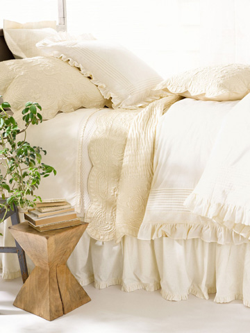 Pine Cone Hill, Inc. - Classic Ruffle Ivory Bed Skirt - King - SCIBSK