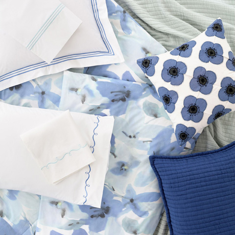 Pine Cone Hill, Inc. - Embroidered Hem White/Dusty Blue Sheet Set - King - SESDBK