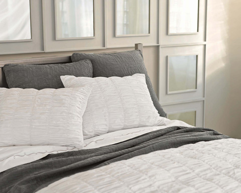 Pine Cone Hill, Inc. - Embroidered Hem White/Silver Sheet Set - King - SESSK