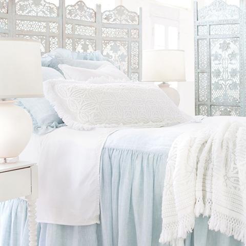Pine Cone Hill, Inc. - Savannah Linen Chambray Sky Bedspread in King - SASBCK