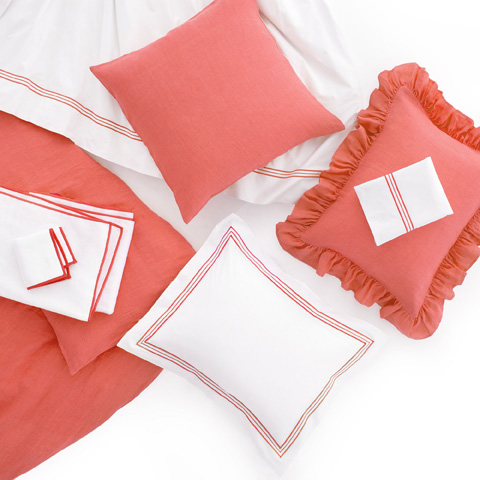 Pine Cone Hill, Inc. - Stone Washed Linen Coral Ruffled Sham-Standard - SWLCRSHS