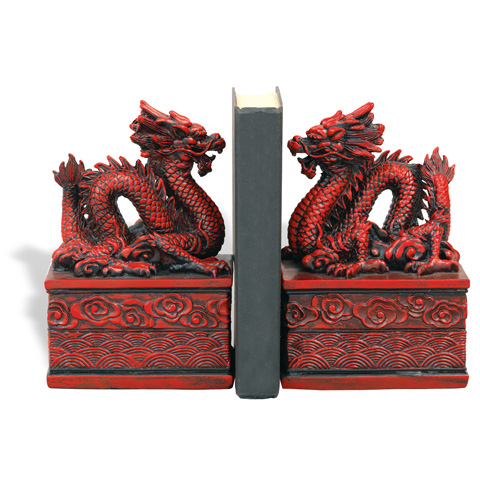 Port 68 - Set of Two Dragon Cinnabar Bookends - ACFM-101-03