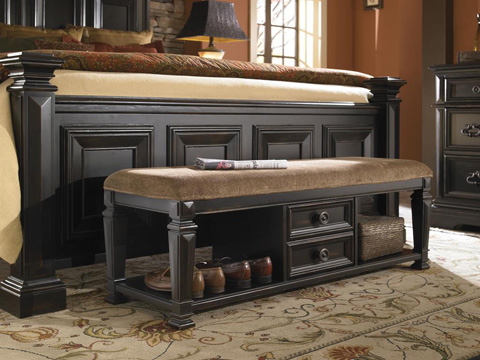 Image of Brookfield Two Drawer Upholstered Bench