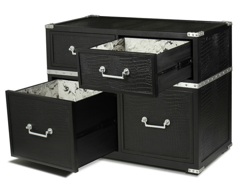 Sarreid Ltd. - Black And Silver Chest - 29560