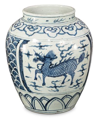 Sarreid Ltd. - Blue & White Ceramic Vase - 29861