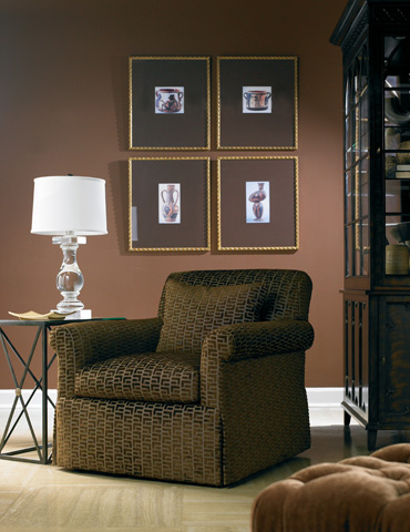 Image of Brown Upholstered Arm Chair