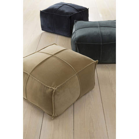Surya - Tan Cotton Velvet Pouf - CVPF-002