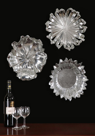 Uttermost Company - Silver Flowers Wall Art, Set of 3 - 08503