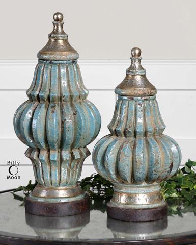 Uttermost Company - Fatima Sky Blue Decorative Urns - 19546