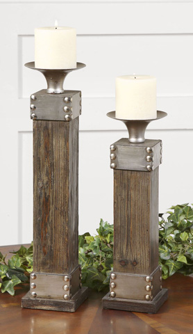 Uttermost Company - Lican Natural Wood Candleholders - 19668