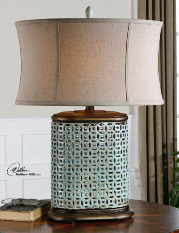 Uttermost Company - Rosignano Crackled Blue Table Lamp - 27475-1