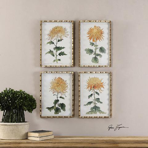 Uttermost Company - Tangerine Spider Mums Art - 35245