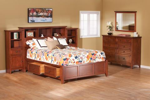 Whittier Wood Furniture - McKenzie Queen Bookcase Storage Bed - 1370GAC
