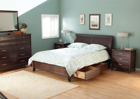 Whitter Wood Furniture - Pacific Queen Storage Bed - 1448CAF