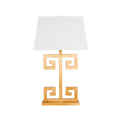 Worlds Away - Gold Leaf Greek Key Lamp - CLAYTON G