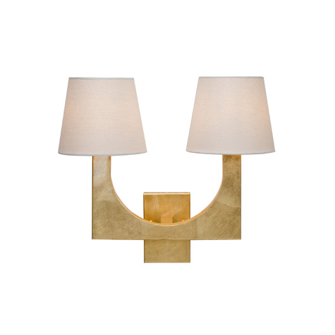 Worlds Away - Gold Leaf Two Arm Sconce - FRITZ G