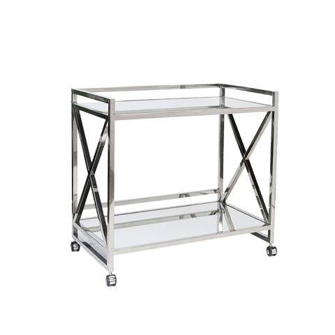 Image of Polished Stainless Bar Cart