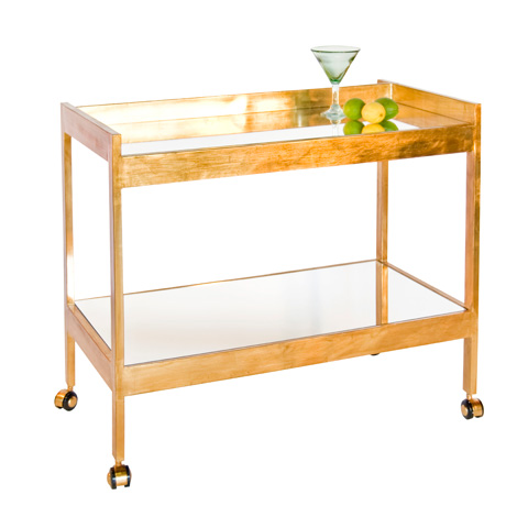 Worlds Away - Gold Leaf Bar Cart - ROLAND G
