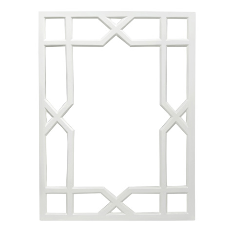 Worlds Away - White Lacquer Treills Mirror - VERO