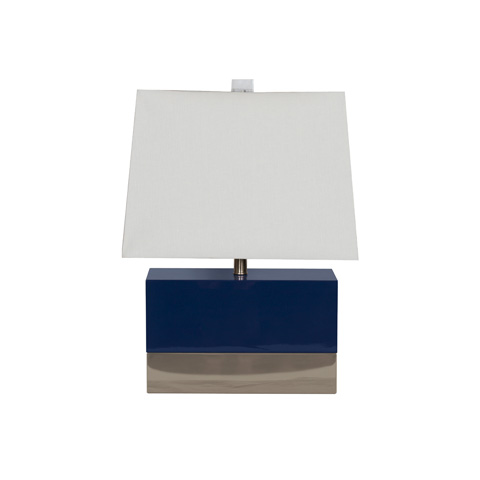 Worlds Away - Navy Lacquer Rectangle Table Lamp - FOLEY NVYN