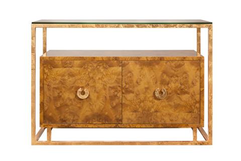 Worlds Away - Dark Burl Wood Two Door Floating Cabinet - JUNO DBG