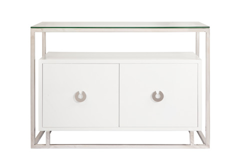 Worlds Away - White Lacquer Two Door Floating Cabinet - JUNO WHN