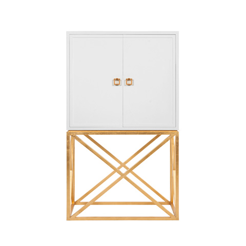 Image of White Lacquer Bar Cabinet