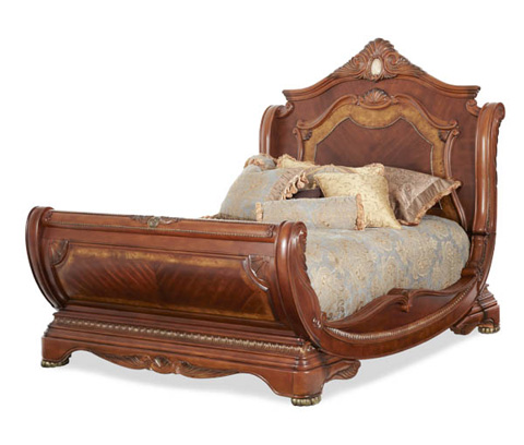 Michael Amini - Eastern King Sleigh Bed with Elaborate Carvings - N65000-BED