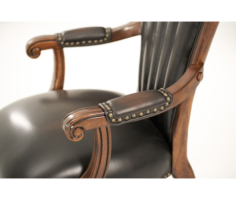 Michael Amini - Upholstered Leather Shell-Back Arm Chair - 02444-53
