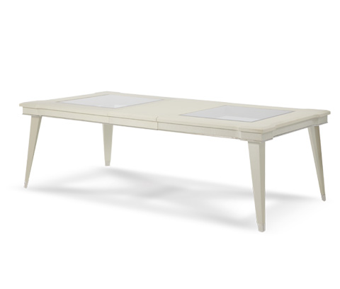 Image of Pearl Caviar Dining Table with Glass Inserts