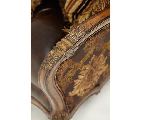 Michael Amini - Leather and Fabric Tufted Sofa - 54915-CHOCO-34