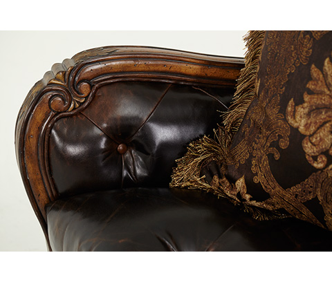 Michael Amini - Leather and Fabric Chair and a Half - 54938-CHOCO-34