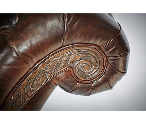 Michael Amini - Leather Armless Chaise - 61941-DPBRN-29