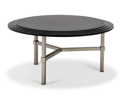 Michael Amini - Vortex Round Cocktail Table with Glass Top - TR-VORTX204B