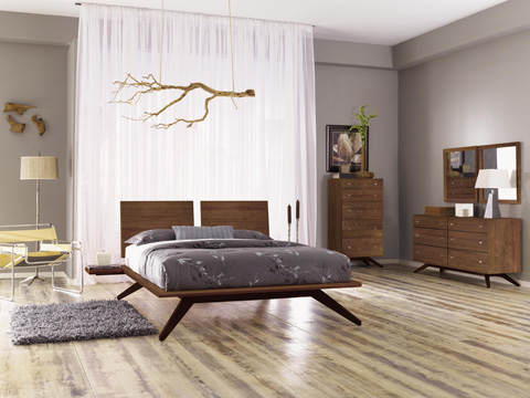 Copeland Furniture - Astrid Bed without Headboard - Cherry - 1-AST-02