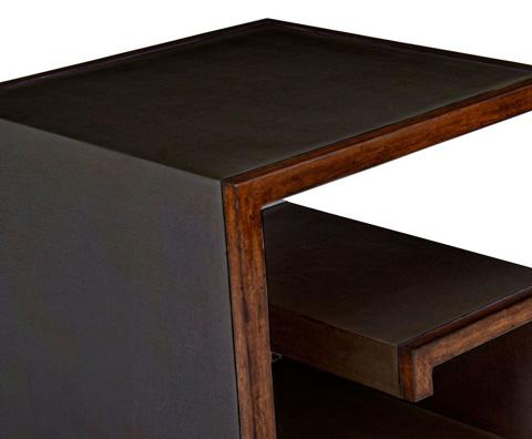 Curate by Artistica Metal Design - Worn Black Canvas Greek Key Buncher Table - C407-380