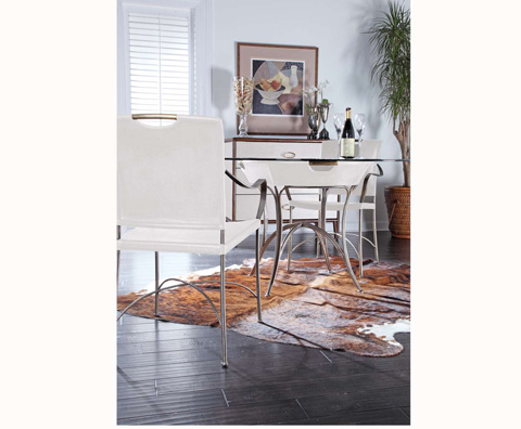Curate by Artistica Metal Design - Worn Ivory Canvas and Iron Dining Table - C408-100