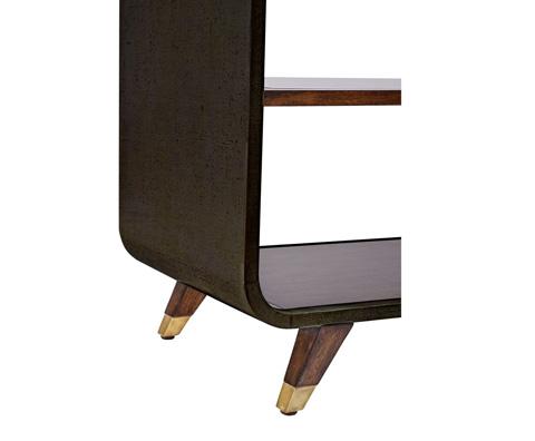 Curate by Artistica Metal Design - Worn Black Canvas Legged Open Bookcase - C407-935