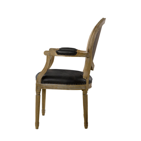 Curations Limited - Glove Leather and Brown Vintage Louis Arm Chair - 8827.1106