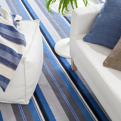 Dash & Albert Rug Company - Midnight Stripe Woven Cotton Rug - RDA438-810