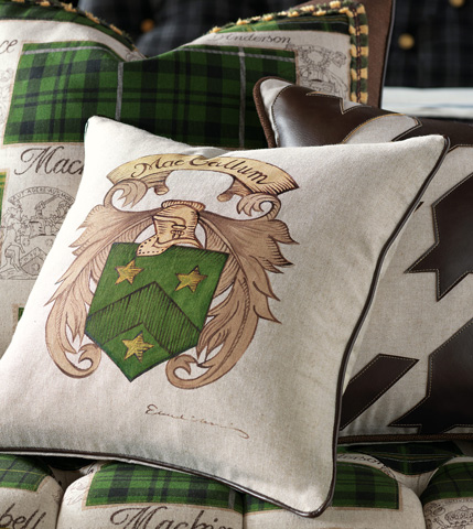 Eastern Accents - Hand-Painted Name Pillow with Crest - MCL-11