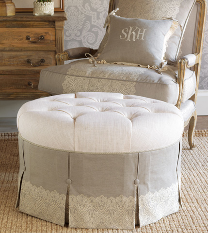 Eastern Accents - Ledge White Round Ottoman - OTD-365