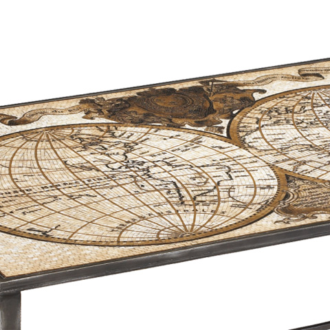 French Heritage - Ardenay World Map Mosaic Cocktail Table - M-1340-104-D