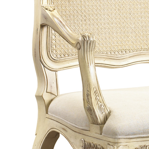 French Heritage - Regence Caned Arm Chair in White - M-2127-204-WHT