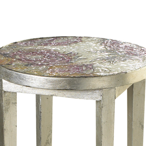 French Heritage - Roses Accent Table with Mosaic Top - M-1342-109-SLV